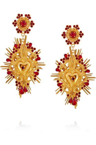 Dolce & Gabbana | Gold-tone Swarovski crystal clip earrings | NET-A-PORTER.COM