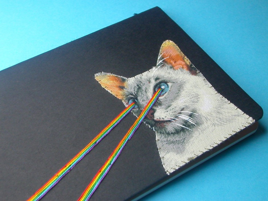 lasereye kitten pocket journal by nowvember on Etsy