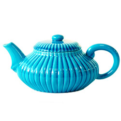 ≪ IMPERIAL FLOWER ≫ Teapot turquoise porcelain - 0