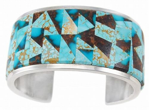 Native American Sterling Silver No 8 Bisbee Turquoise Inlay Bracelet S6 25 | eBay