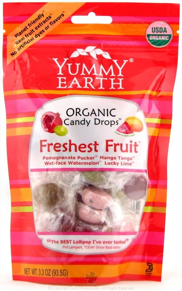Buy Yummy Earth - Organic Candy Drops Gluten Free Freshest Fruit Flavors - 3.3 oz. (93.5g) at LuckyVitamin.com