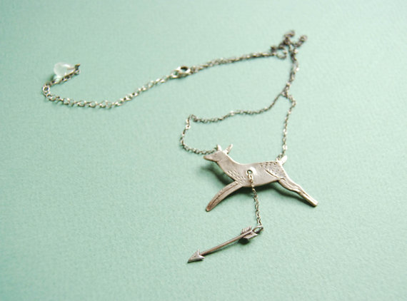 Hart & Hunt silver deer and arrow necklace by datter on Etsy