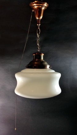"""1930-50's """"Copper"""" School House Ceiling Light - FUNNY SUPPLY"""