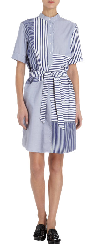 Band of Outsiders Patchwork Short Sleeve Shirt Dress at Barneys.com