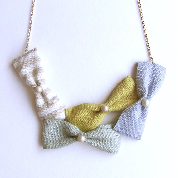 Cotton Ribbon Bow Necklace by HOMAKO on Etsy