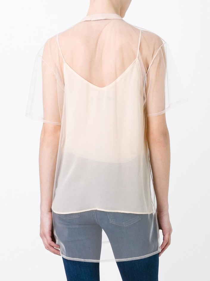 Au Jour Le Jour Rose Patch Sheer T-shirt - Di Pierro - Farfetch.com