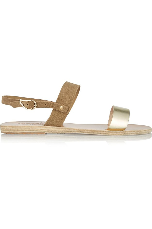 Ancient Greek Sandals | Clio metallic leather and suede sandals | NET-A-PORTER.COM