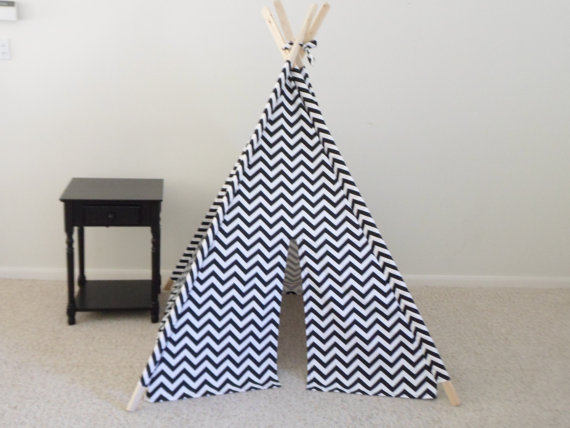 Chevron teepee black blue or red and White Chevron by TexasTeePees
