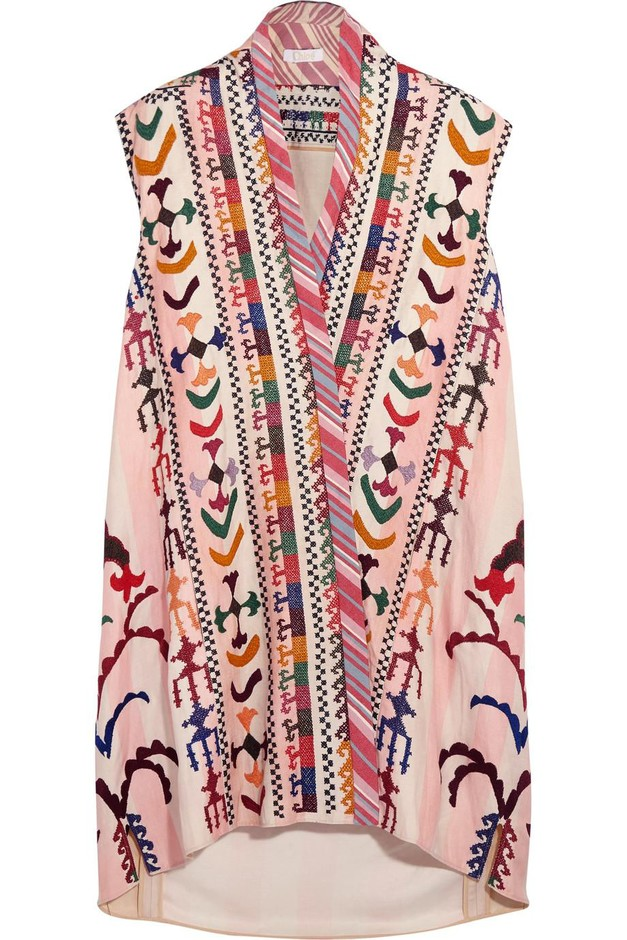 Chloé   Embroidered striped linen and silk-blend tunic   NET-A-PORTER.COM