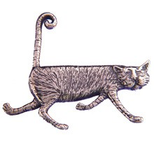 GoreyStore.com Stripey Cat Pin Sterling Silver