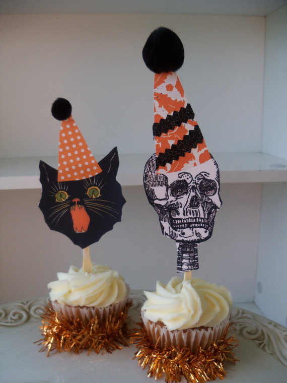 Halloween Cupcake Toppers Halloween Decoration for by JeanKnee