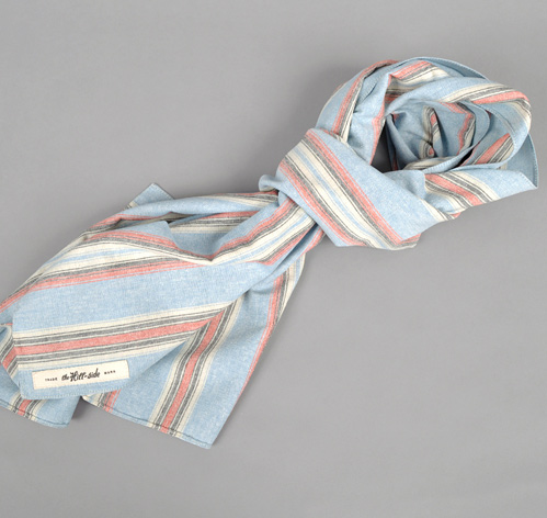N70-067 - SLUB POPLIN IRREGULAR STRIPE SCARF, LIGHT BLUE / NAVY / RED :: HICKOREE'S HARD GOODS