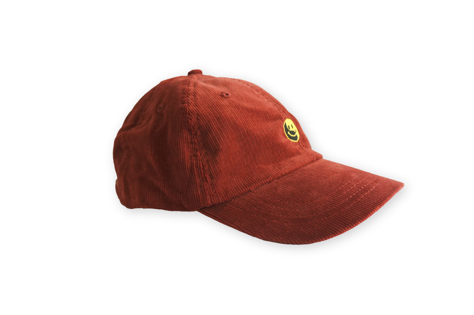 Smile embroidery Corduroy cap / Red