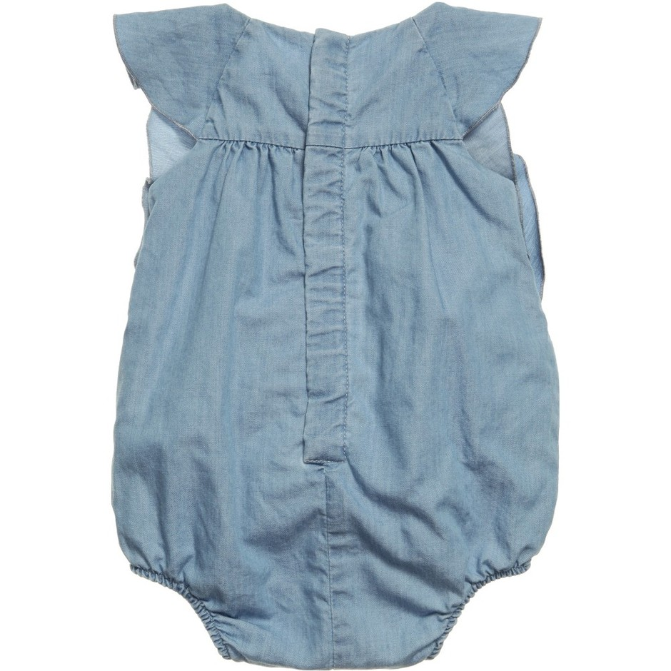 Chloé - Baby Girls Pale Blue Cotton Chambray Shortie | Childrensalon