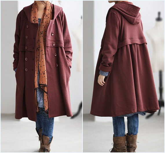 Cotton hood double breasted button cloak coat by MaLieb on Etsy