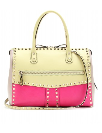mytheresa.com - Valentino - ROCKSTUD COLOUR BLOCK LEATHER TOTE - Luxury Fashion for Women / Designer clothing, shoes, bags