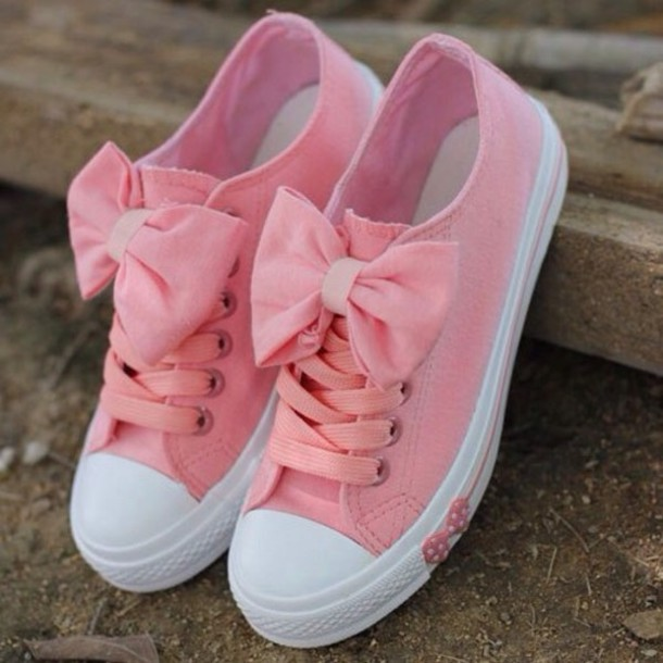 Shoes: bows, pink - Wheretoget