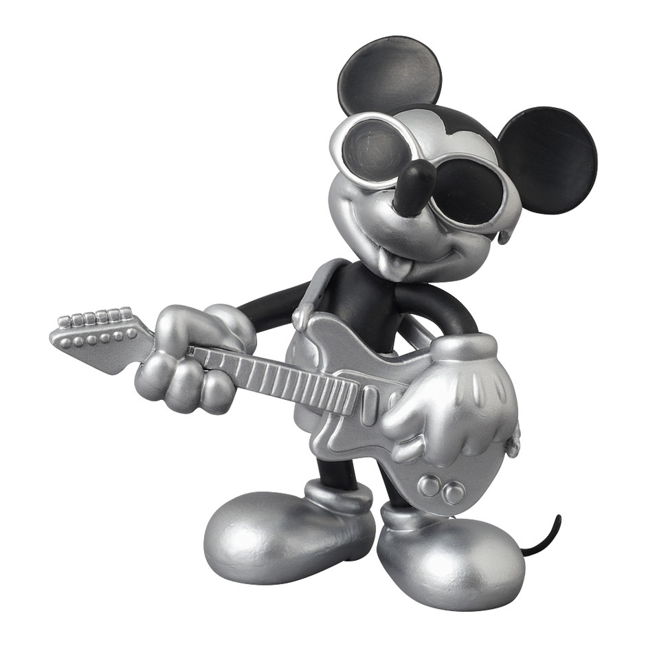 MEDICOM TOY - UDF ROEN collection MICKEY MOUSE (GRUNGE ROCK Ver.) BLACK & SILVER