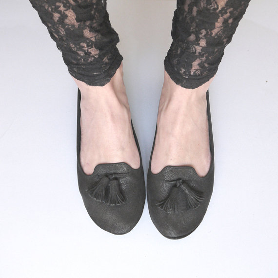 The Loafers Shoes Handmade Black Leather Loafers by elehandmade