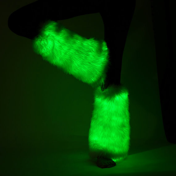 Green Light Up Fluffies | Electric Styles