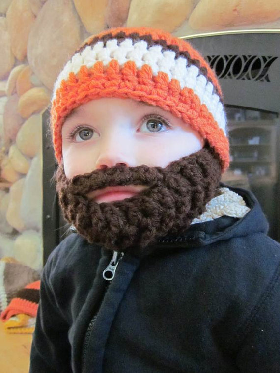 Kids ULTIMATE Bearded Beanie Orange by bylauradesign on Etsy