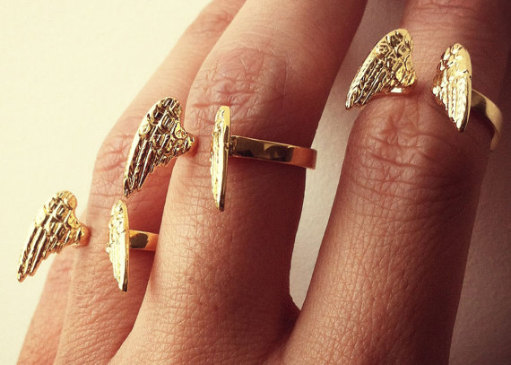 Mini Wing Ring Adjustable Recycled 14K Gold Plated by SORACED