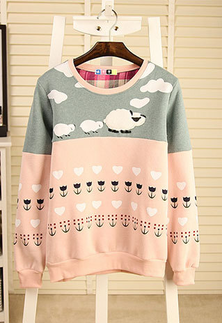 shego shopping mall — [grzxy6600959]Cute Sheeps Flower Print Mixed Colors Crewneck Sweatshirt Pullover Jumper