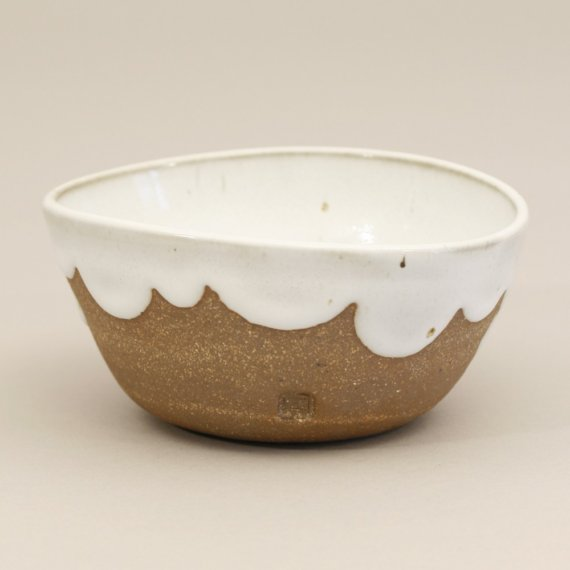 Stoneware Bowl with Scalloped Glaze white by amandagentry on Etsy