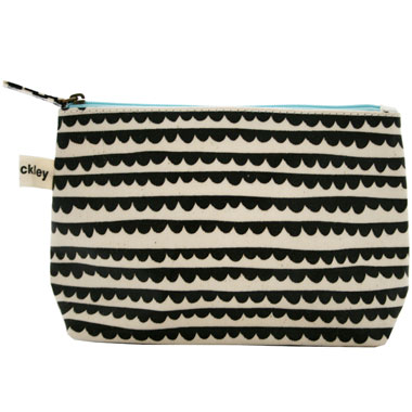 valerie makeup bag, round collar charcoal --- Lisa Stickley London