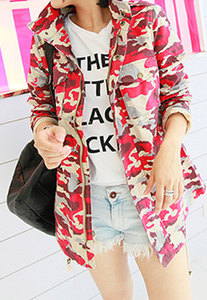 lulula-fashion shopping mall — [ghyxh3600840]European Style Chic Camouflage Rose Red Coat