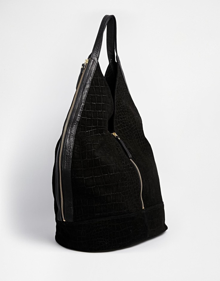 ASOS | ASOS Leather And Suede Slouch Hobo Bag With Zip at ASOS
