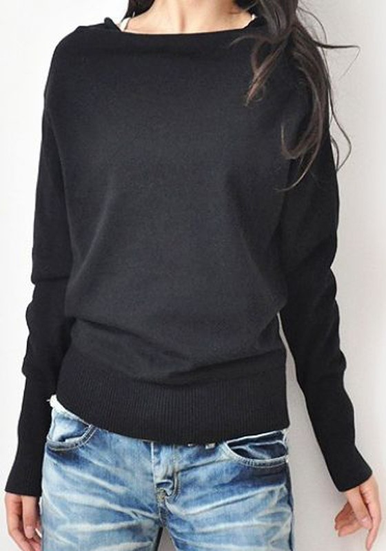 Black Boat Neck Long Sleeve Batwing Cotton Pullover