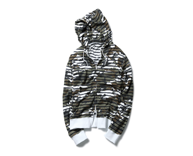SOPHNET.   PRODUCT   CAMOUFLAGE OVER PRINT BORDER ZIP UP PARKA