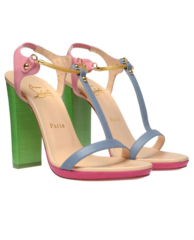 Browns fashion & designer clothes & clothing | CHRISTIAN LOUBOUTIN | 'Sylvieta' pastel leather and snake chain sandals