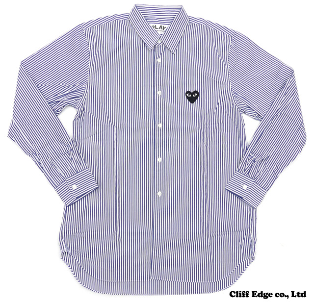 【楽天市場】PLAY COMME des GARCONS STRIPED BUTTON DOWN SHIRT [長袖シャツ] WHITExNAVY 216-001029-047x【新品】【smtb-TD】【yokohama】:Cliff Edge
