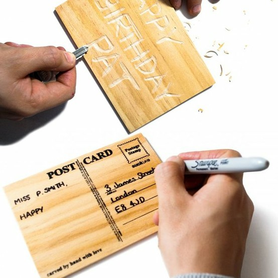 Carve Your Own Card : Wooden postcard - carve your personal message