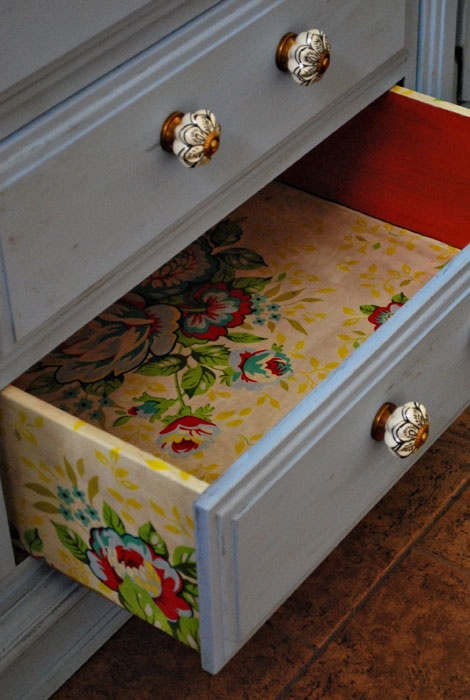 Furniture / line insides & outsides of drawer with pretty fabric