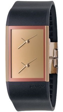 Philippe Starck Men's Dual Time Analog Watch Black Rubber Strap Gold Dial PH5025