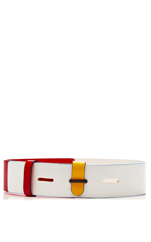 Tricolor Leather Belt by Prabal Gurung Now Available on Moda Operandi