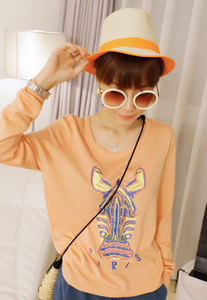 soulgoodies- fashion shopping mall — [grls76000084]Cool Loose Fitting Colorful Horse Embroidered Sweatshirt