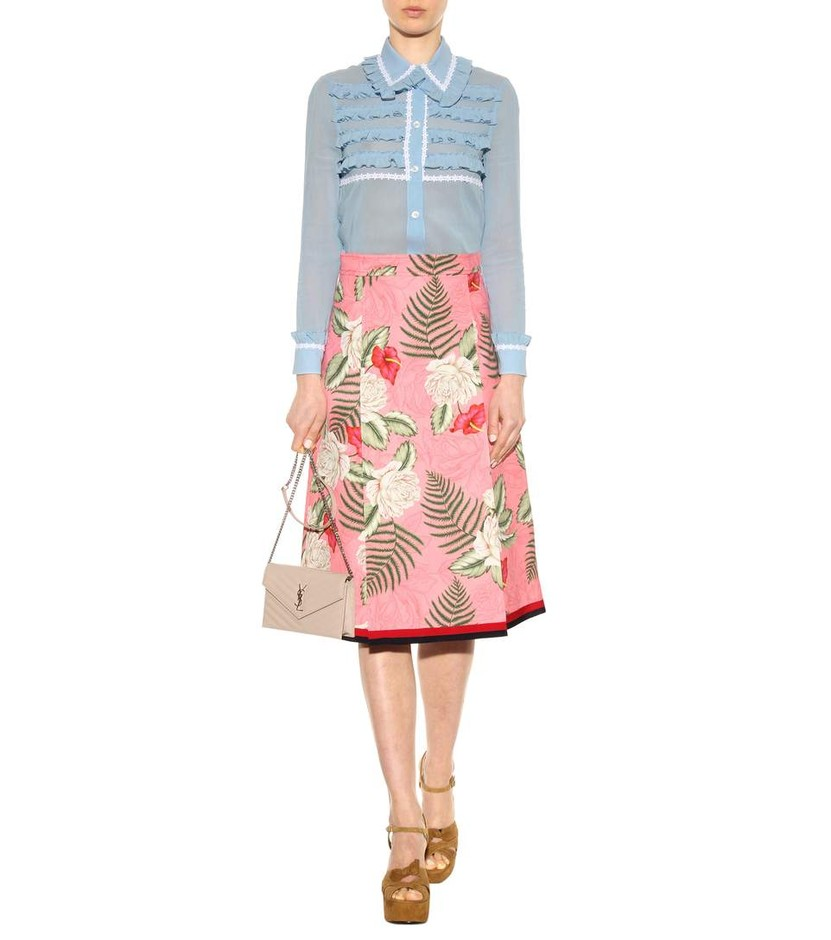 mytheresa.com - Ruffled cotton and silk blouse - Luxury Fashion for Women / Designer clothing, shoes, bags