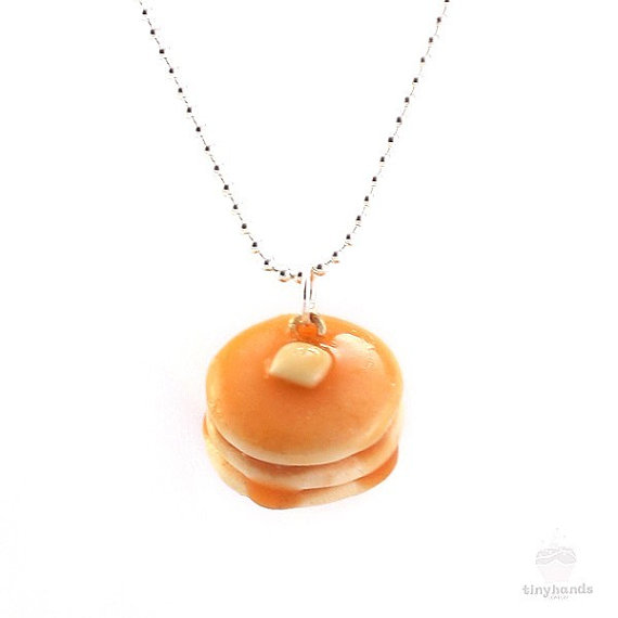 Scented Pancake Necklace Food Jewelry by tinyhands on Etsy