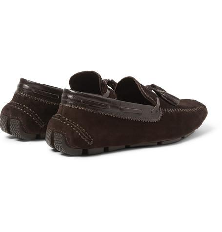 Berluti - Polished Leather-Trimmed Suede Loafers