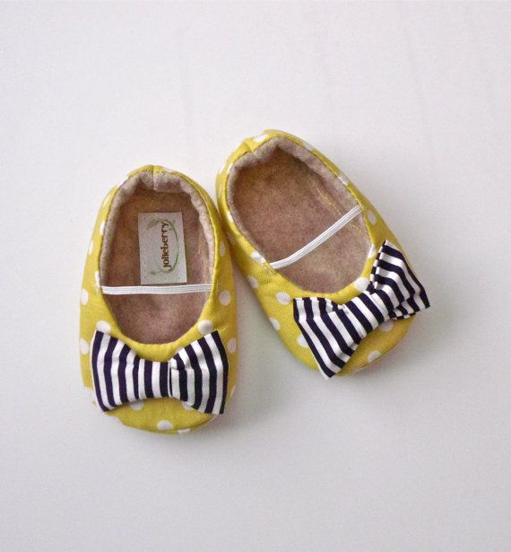 EDEN baby girl shoes- lime green polka dot with navy blue stripe bow