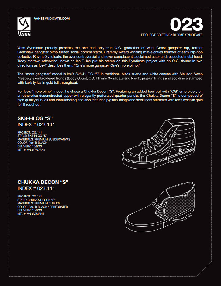 ICE-T x Vans Syndicate Capsule Collection Teaser | FNG magazine