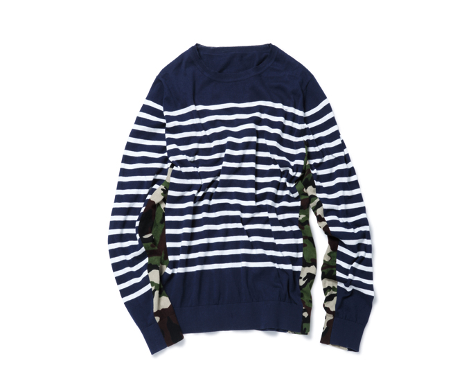 SOPHNET. | PRODUCT | SIDE CAMOUFLAGE PANEL BORDER CREW NECK KNIT