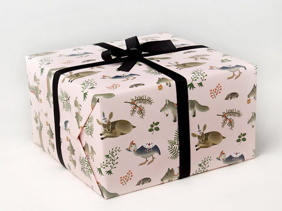Forest Animals Wrapping Paper Pink by clapclapdesign on Etsy