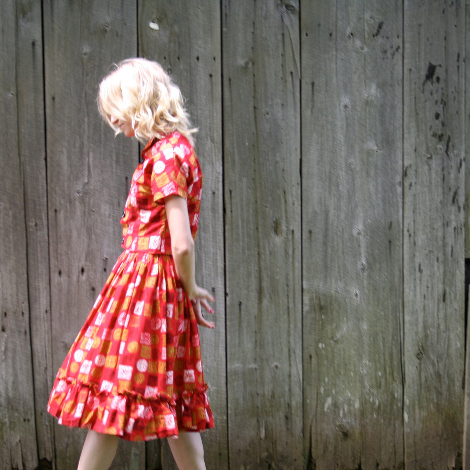 Vintage 1950s Women's Red Suit Dress Madmen by BlancheVintage