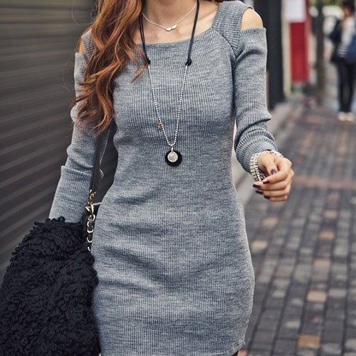 [grxjy560289]Sexy Simple Shoulder Cutout Dress / pgfancy- fashion online shopping mall