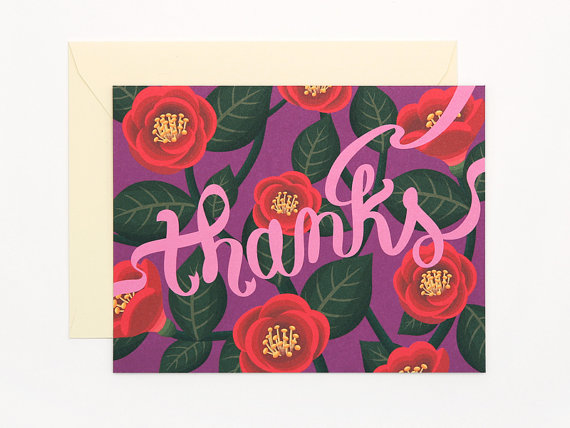 Red Camellia thank you card thanks by clapclapdesign on Etsy